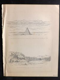 Baird 1857 Print. Emory's Monument North of Santa Cruz. Los Nogales California